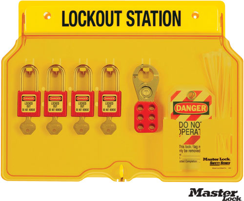 Wall-Mount Filled Lockout Station with 4 Padlocks