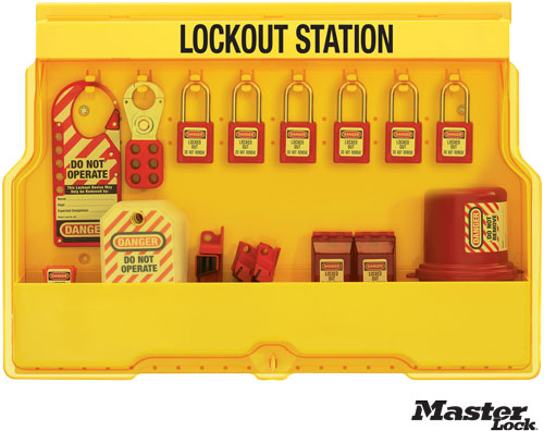 Wall-Mount Filled Electrical Lockout Station with 6 Padlocks