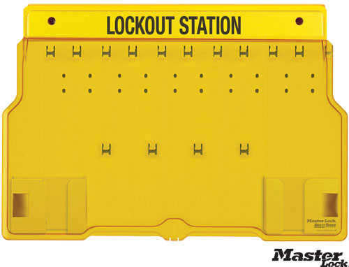 Wall-Mount Empty Lockout Station For 10 Padlocks