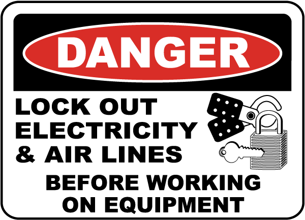 Danger Lock Out Electricity Label