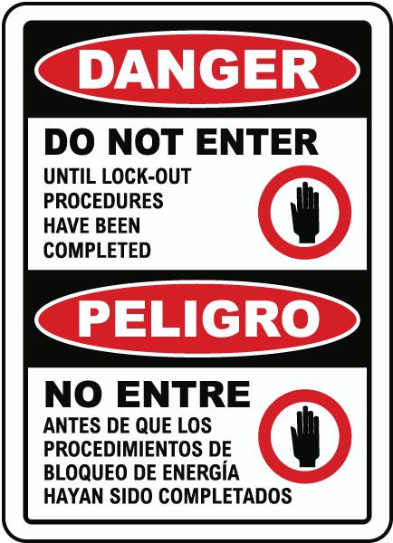 Bilingual Danger Do Not Enter Lock Out Sign