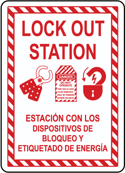 Bilingual Lock Out Station Sign