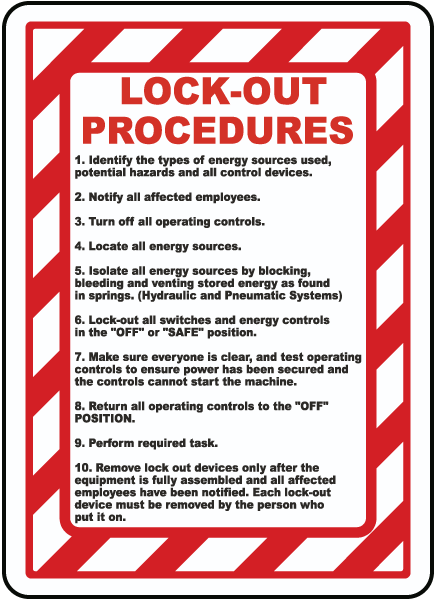 Lock-Out Procedures 1. Identify the types of energy sources used, potential hazards and all control devices..