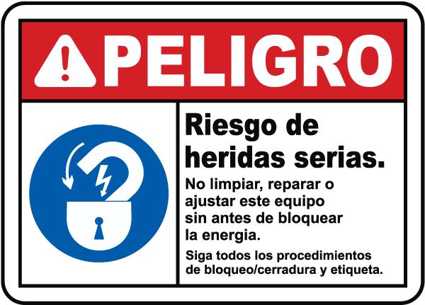Spanish Danger Risk of Serious Injury Sign