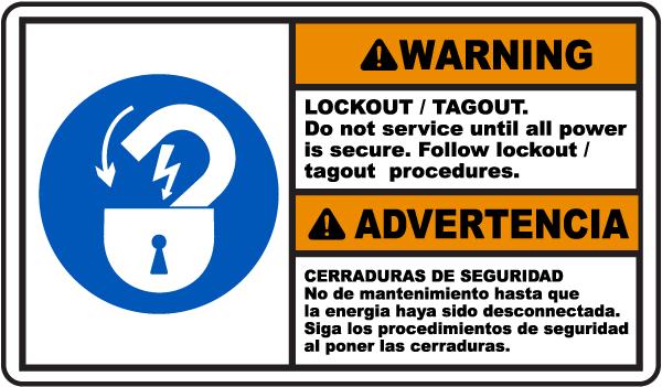 Bilingual Warning Lockout Tagout Sign
