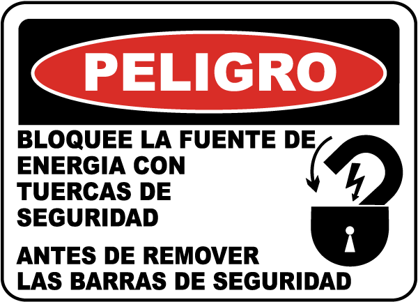Spanish Danger Lock Out Power Label