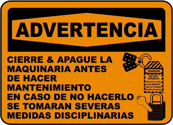 Spanish Warning Lock-Out All Machinery Label