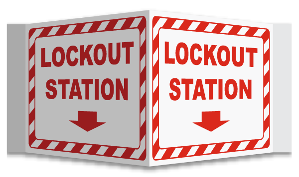 3-Way Lockout Station Wall Projection Sign