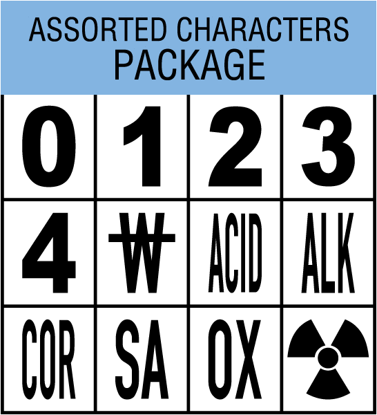 Package with 1 of each 0, 1, 2, 3, 4, Radioactive symbol, W with line thru, ACID, ALK, COR, OXY