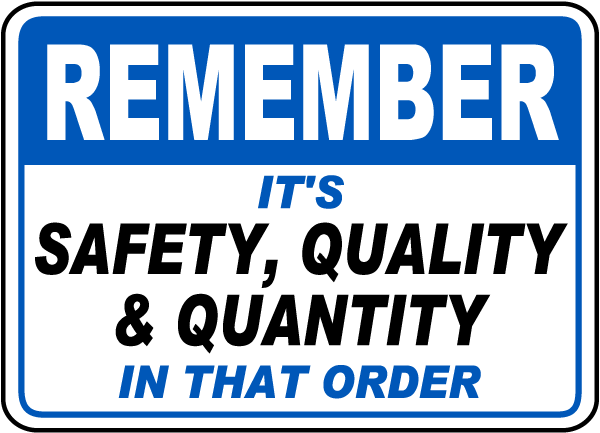 Remember Safety Quality Quantity Sign