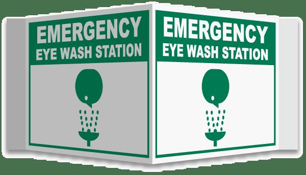3-Way Emergency Eye Wash Sign