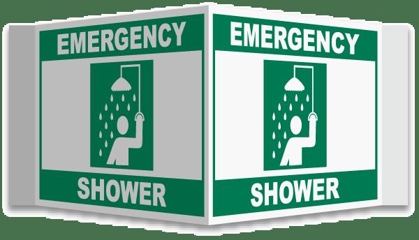 3-Way Emergency Shower Sign