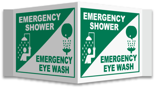 3-Way Shower / Eye Wash Sign
