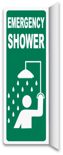 2-Way Emergency Shower Sign