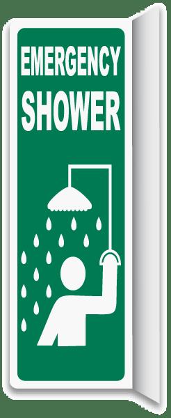 2-Way Emergency Shower Sign