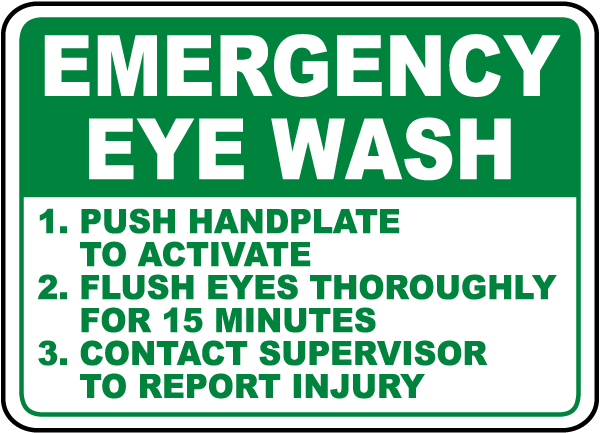 Emergency Eye Wash Instructions Sign