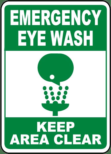 Eye Wash Keep Area Clear Sign