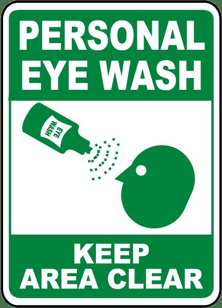 eye wash station instruction sign