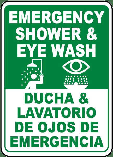 Bilingual Shower & Eye Wash Sign