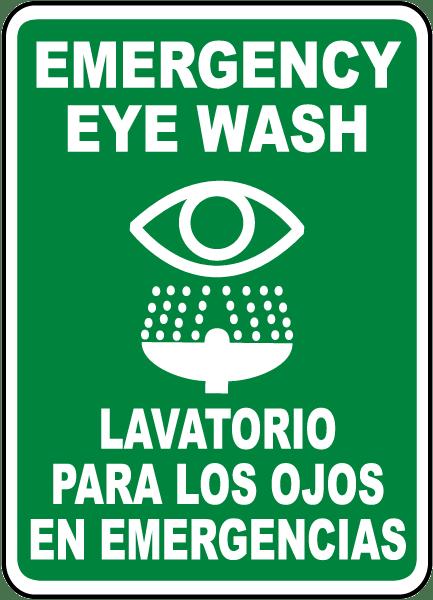 Bilingual Emergency Eye Wash Sign