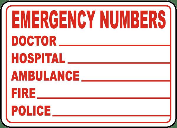 Emergency Phone Numbers Label