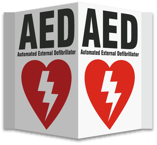 3-Way AED Sign
