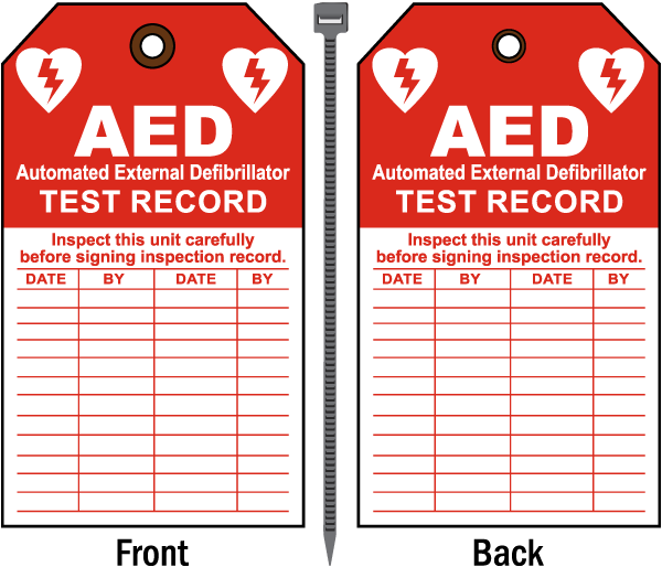 AED Test Record Tag