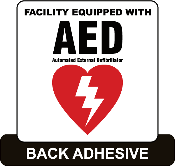 Facility Equipped With AED Label