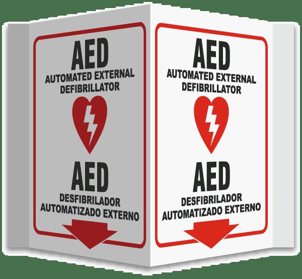 3-Way Bilingual AED Sign