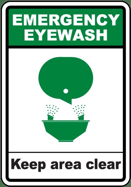 Emergency Eyewash Keep Area Clear Sign