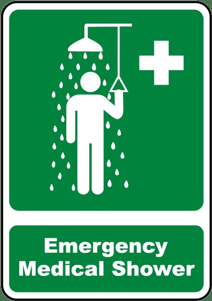 Emergency Medical Shower Sign