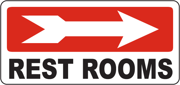 Rest Rooms (Right Arrow) Sign