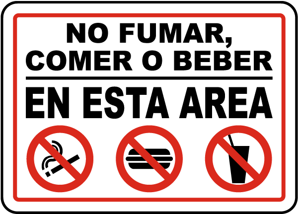 Spanish No Smoking Eating Drinking In This Area Sign