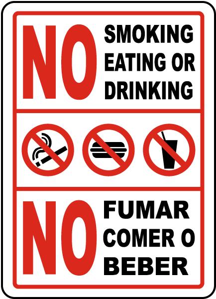 Bilingual No Smoking Eating Drinking Sign