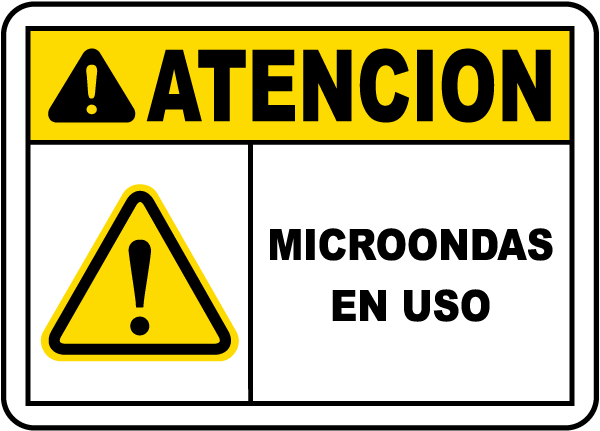 Spanish Caution Microwave In Use Sign