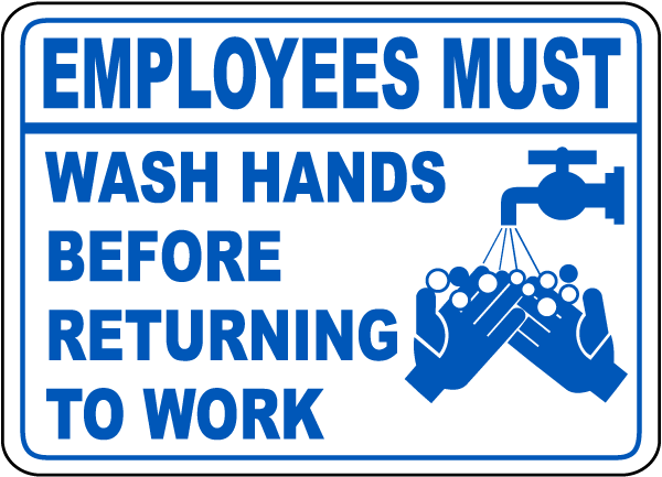 Wedding Gift Etiquette For Employees : Employees Wash Hands Work Sign - D5800. Bathroom Etiquette Signs by ...