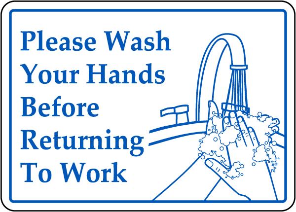 Wash Hands Before Returning Label