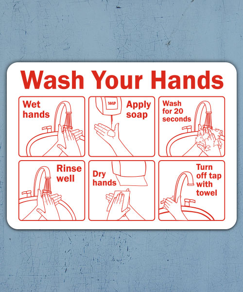 Wash Your Hands Instructions Label