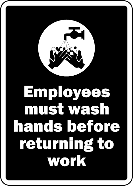 Employees Must Wash Hands Label