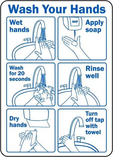 Wash Your Hands Instructions Label D5817l