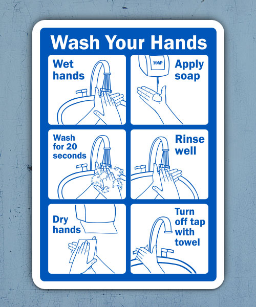Wash Your Hands Instructions Sign