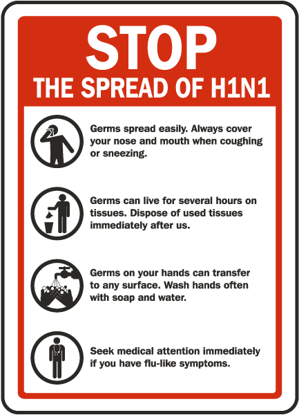 Stop The Spread of Swine Flu Sign