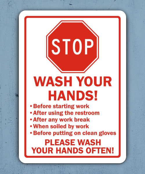 Stop Wash Your Hands Label
