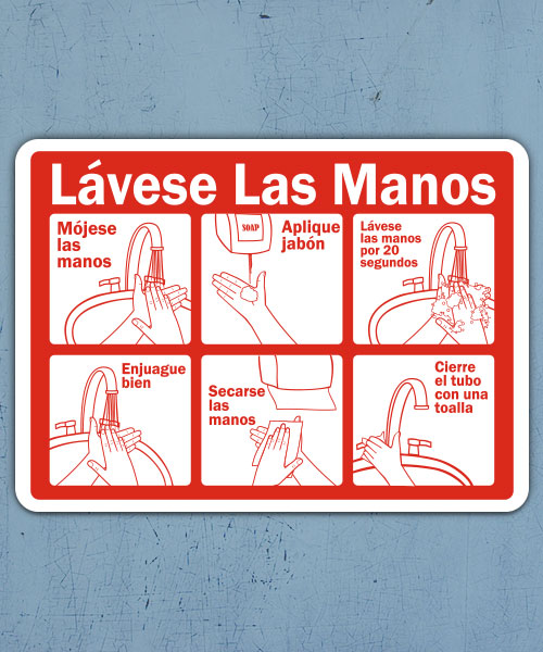Spanish Wash Your Hands Instructions Sign