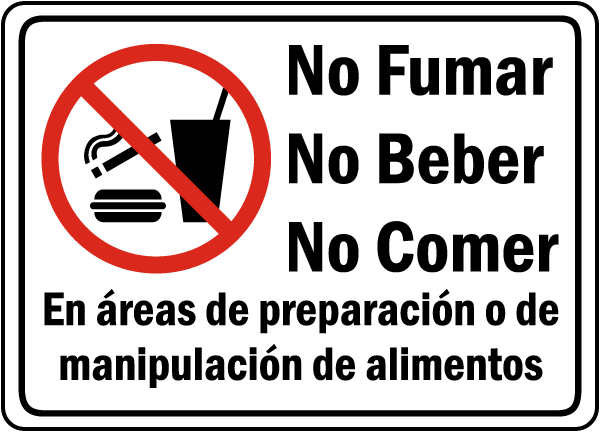 Spanish Food Preparation Handling Areas Sign