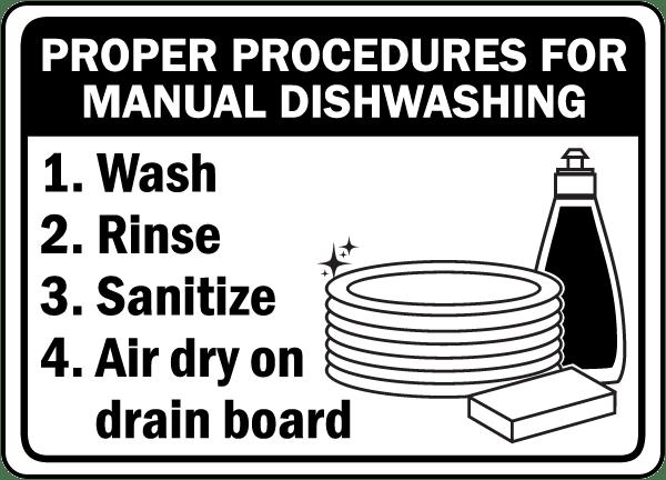 Manual Dishwashing Procedures Sign