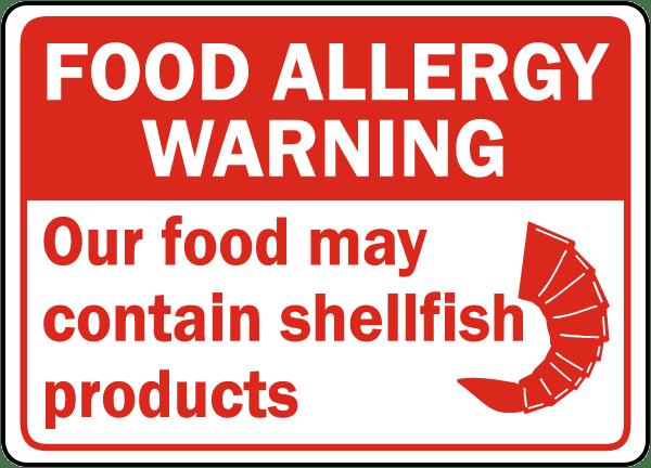 Food May Contain Shellfish Sign