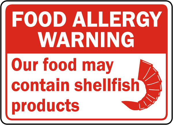 Food May Contain Shellfish Sign