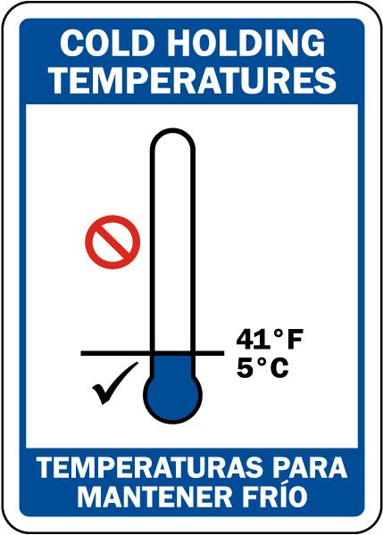 Bilingual Cold Holding Temperatures Sign