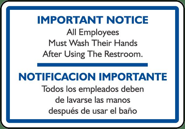 Bilingual Must Wash Hands Sign